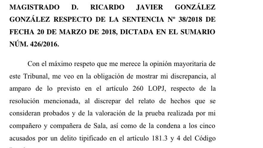 El voto particular del juez González, que pedía la absolución de 'la manada'.