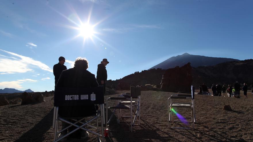 Un momento del rodaje de la serie de la BBC Doctor Who.