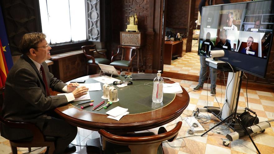 Un momento de una de las reuniones mantenidas este miércoles por videoconferencia por el president Ximo Puig.