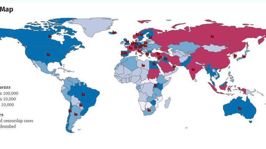 El mapa de Tor de la cibercensura
