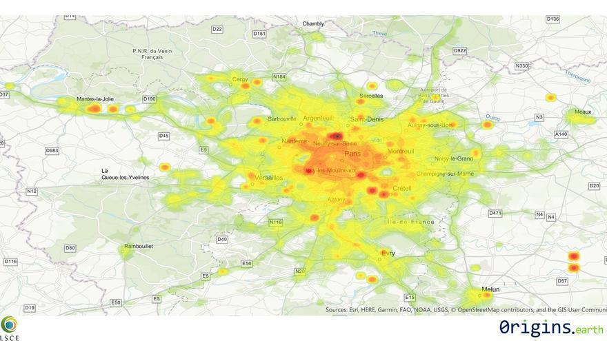 Cartografía elaborado con los datos de emisiones en tiempo real en París.