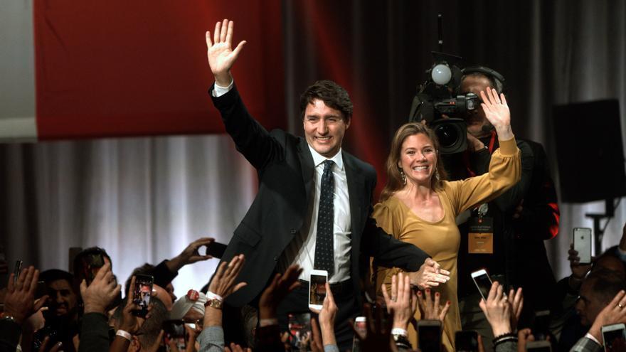Justin Trudeau celebra su victoria electoral este 21 de octubre