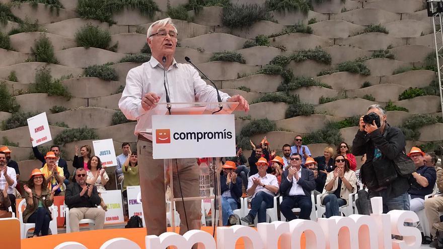Joan Ribó, en el acto central de la campaña de Compromís en Valencia.