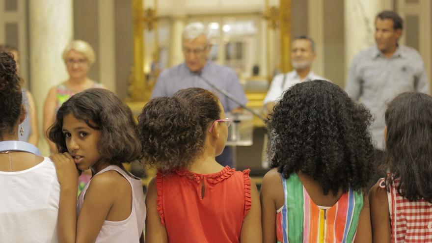 Varios de los niños saharahuis acogidos por familias valencianas