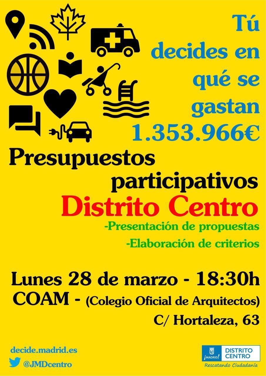 Cartel de la última reunión de Centro sobre los presupuestos participativos