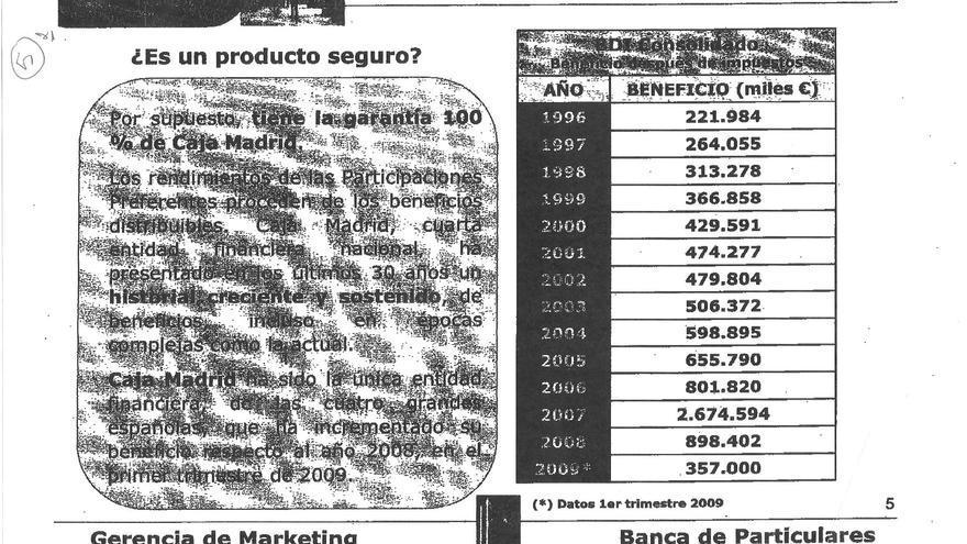 Documento de comercialización de preferentes de Caja Madrid.