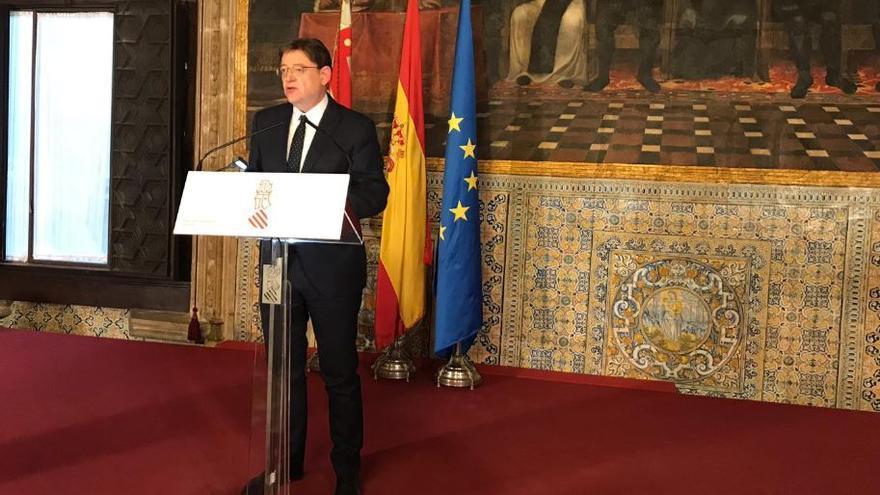 Un momento de la comparecencia de Ximo Puig en el Palau de la Generalitat