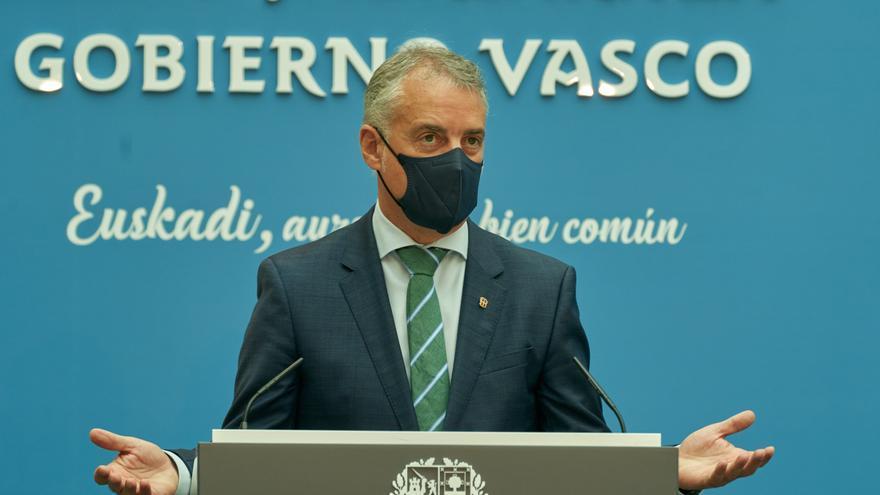 El lehendakari, Iñigo Urkullu, ofrece declaraciones a los medios, después de una reunión de la Mesa de Diálogo Social en la sede de Lehendakaritza, a 14 de septiembre de 2021, en Vitoria-Gasteiz, Euskadi (España)