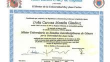 El título de máster de Carmen Montón, con fecha 2012, un año posterior al curso que aparece en sus notas