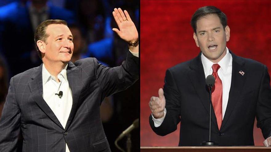 Los candidatos a las primarias del Partido Republicano estadounidense Ted Cruz (izquierda) y Marco Rubio (derecha)