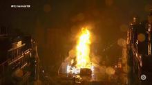 Imagen de la retransmisión de À Punt de la 'cremà' de la falla del Ayuntamiento de València