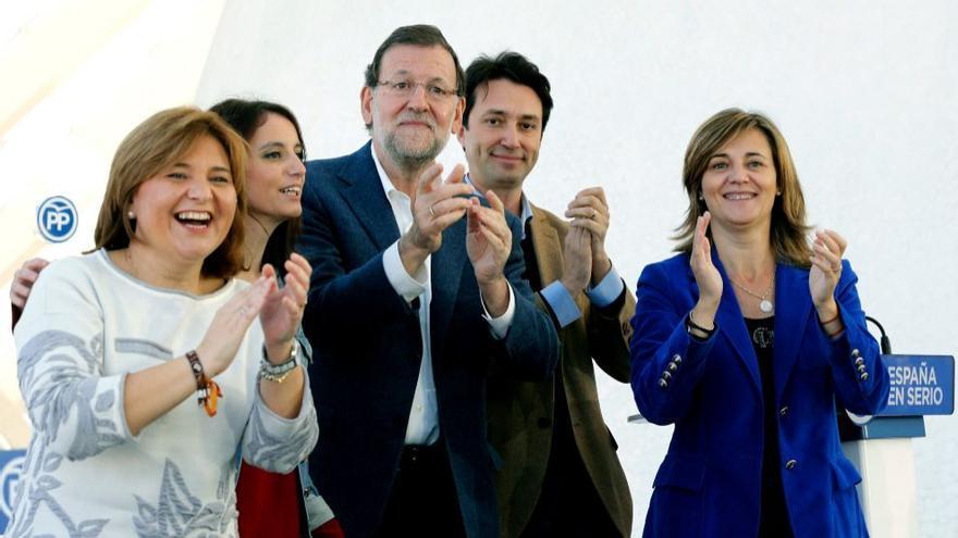 Mariano Rajoy y Andrea Levy en Valencia junto a Isabel Bonig, Elena Bastidas y Vicente Betoret