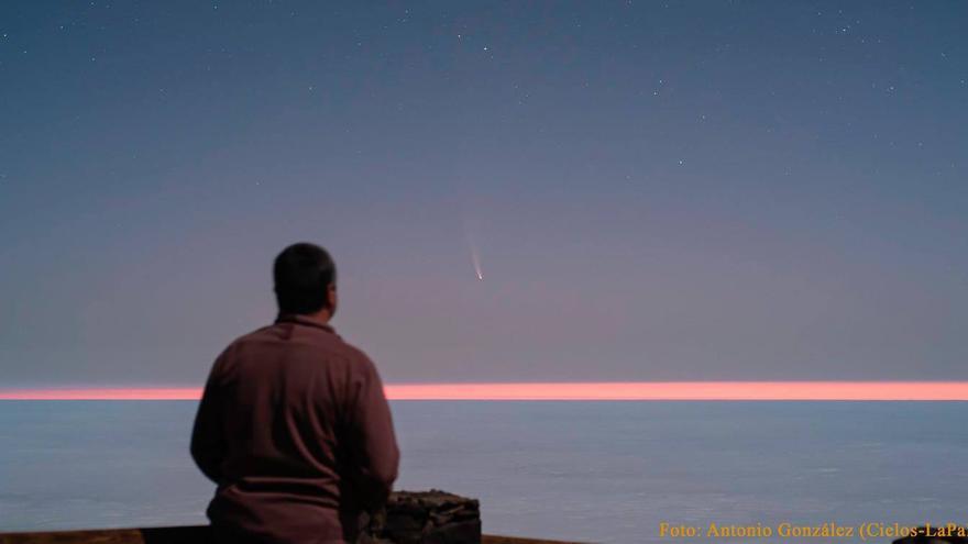 El cometa Neowise se dejó ver en La Palma al amanecer