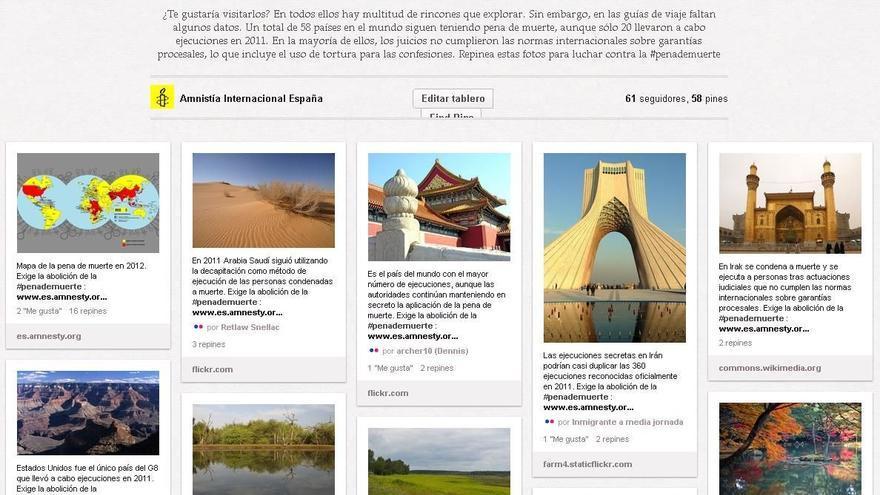 """Catálogo de destinos a """"paisajes de muerte"""". © Amnistía Internacional"""