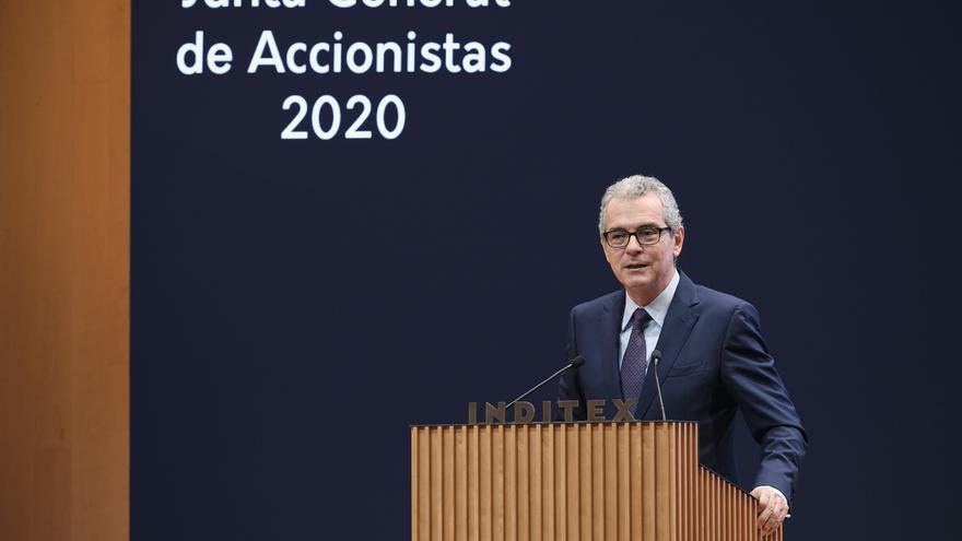 El presidente y director ejecutivo de Inditex, Pablo Isla, durante la junta general de accionistas de 2020