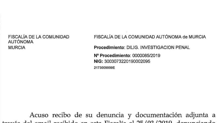 El Fiscal Superior de Murcia ha incoado diligencias de investigación por un posible delito de prevaricación