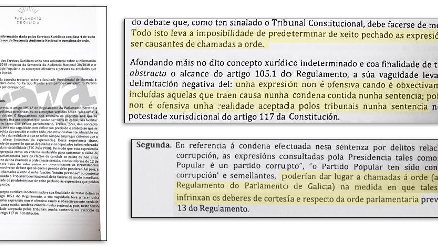 """Fragmentos del informe de los letrados sobre la posibilidad de que los diputados digan que el PP fue """"condenado por corrupción"""""""