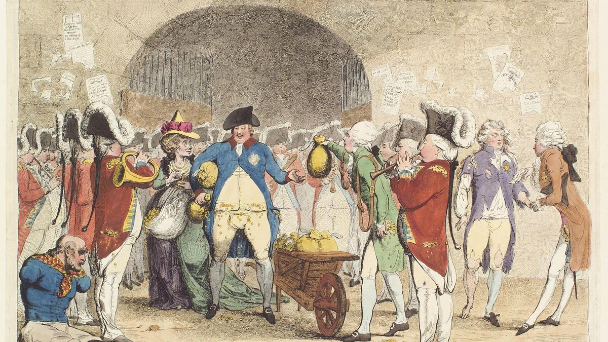 'Una nueva forma de pagar la deuda nacional', cuadro de James Gillray, 1786.