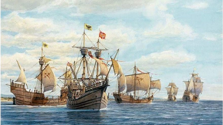Pintura de las naves de Colón.