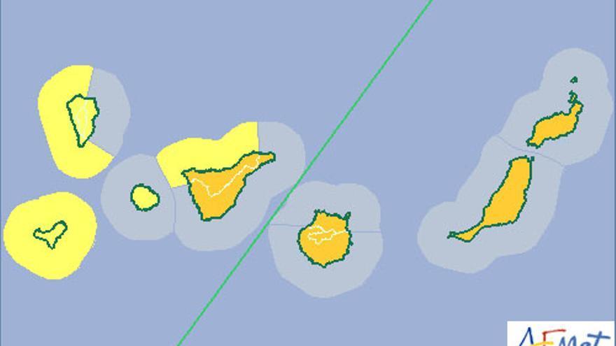 La Aemet mantiene activadas las alertas amarilla y naranja en Canarias este jueves, 20 de noviembre de 2014.