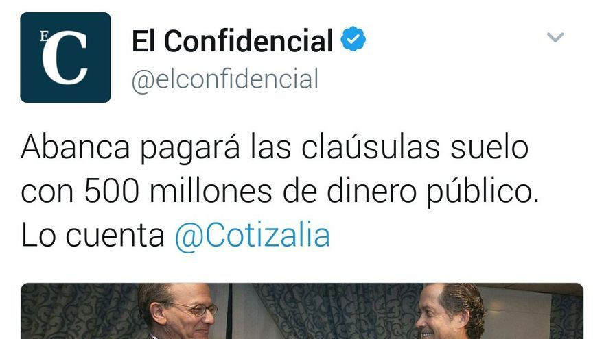 """Noticia publicada en El Confidencial: """"Abanca pagará las cláusulas suelo con 500 millones de dinero público"""""""