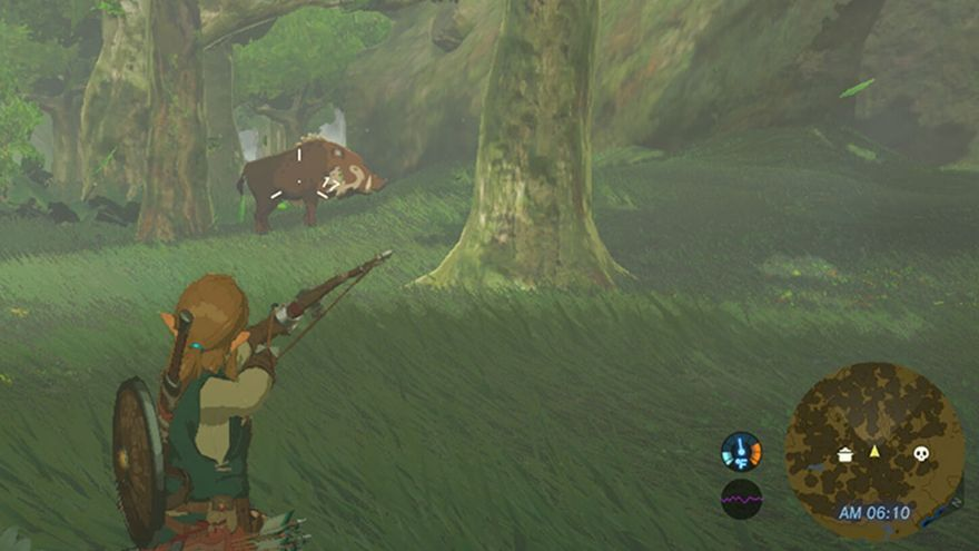 Link, el protagonista de The Legend of Zelda Breath of the Wild, cazando un jabalí