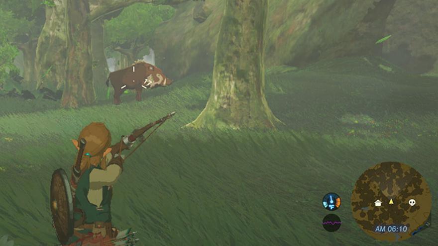Link, el protagonista de The Legend of Zelda Breath of the Wild, cazando un jabalí