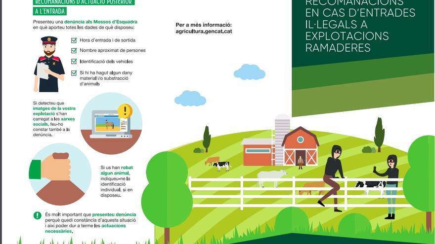 Documento distribuido por el Departamento de Agricultura, Ganadería, Pesca y Alimentación de la Generalitat de Catalunya para llamar a la represión del movimiento de liberación animal