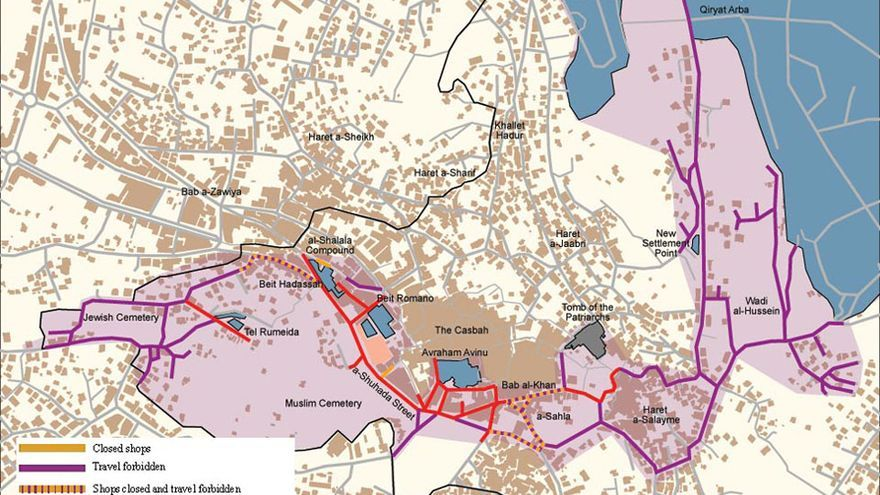 Mapa de Hebrón realizado por la ONG Betselem.