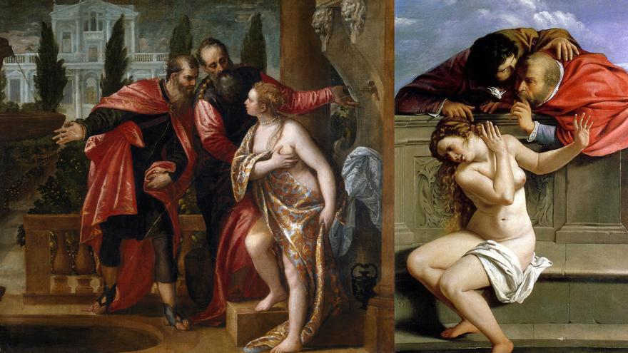 'Susana y los viejos', versiones de Paolo Veronés y Artemisia Gentileschi