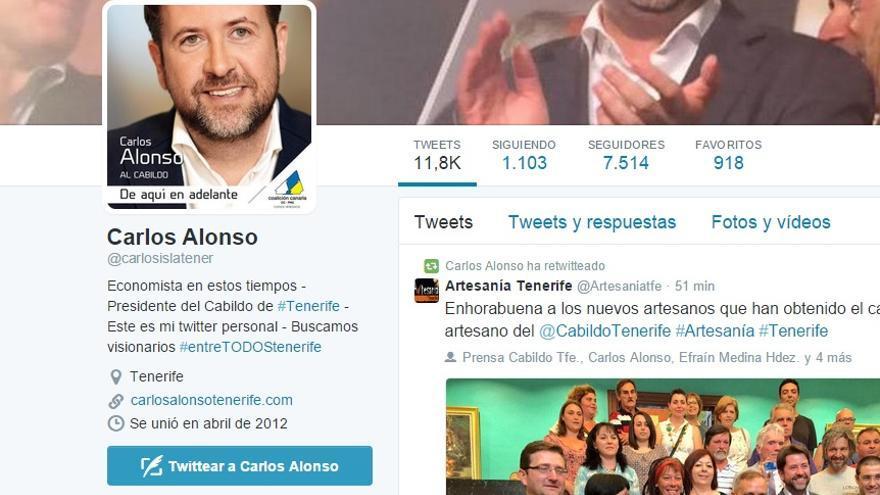 Pantallazo de la cuenta en Twitter de Carlos Alonso.
