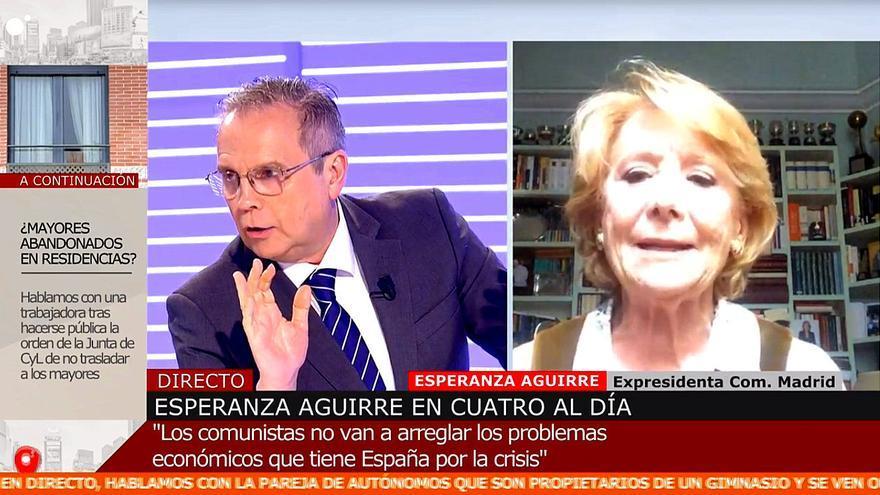 Miguel Ángel Carmona y Esperanza Aguirre, en 'Cuatro al día'