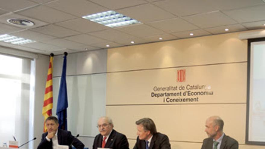 El conseller Mas-Colell durante la presentación de la Ciudad de los Funcionarios
