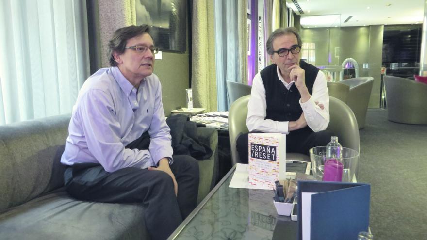 Fernando Vallespín y Joan Subirats, durante la entrevista concedida a eldiario.es / MPB