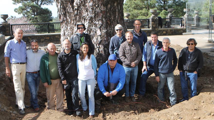En la imagen, el grupo de técnicos encargados de velar por la salud del emblemático Pino de la Virgen, junto al histórico árbol, con el alcalde de El Paso, Sergio Rodríguez, y y  primer teniente de alcalde y concejal del área de Patrimonio,  Andrés Carmona.