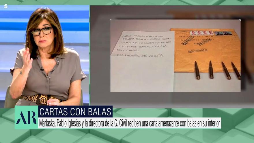 Ana Rosa Quintana condena las cartas con balas