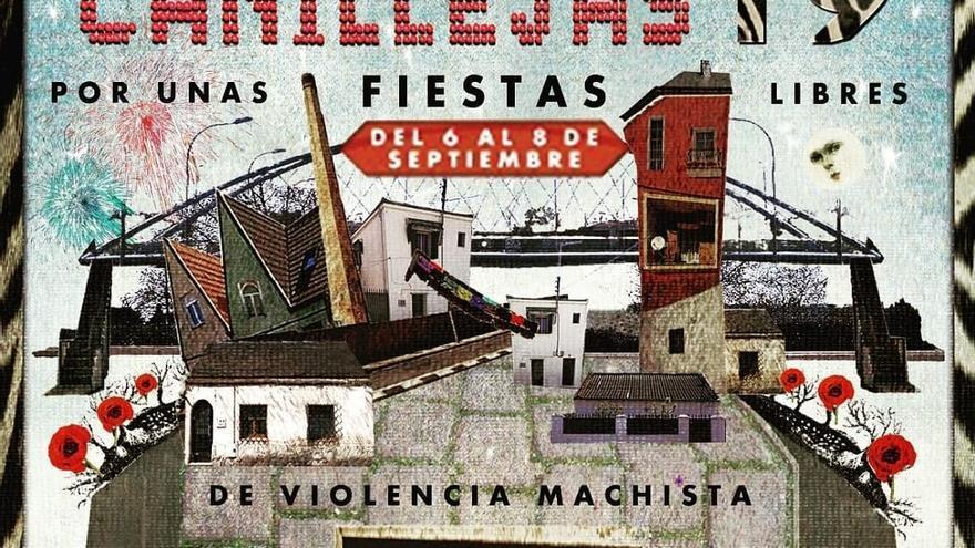 Cartel con la frase 'Por unas fiestas libres de violencias machistas'