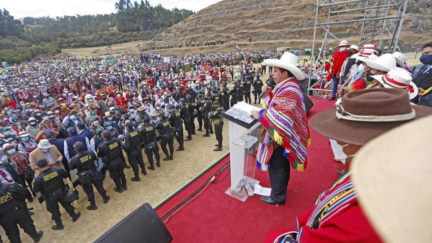 Pedro Castillo, durante el lanzamiento de la II Reforma Agraria en la fortaleza de Sacsayhuamán, en el Cusco. EFE/Presidencia del Perú