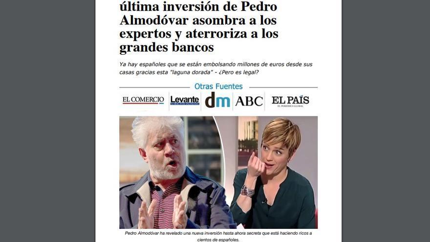 Noticia falsa con la imagen de Pedro Almodóvar
