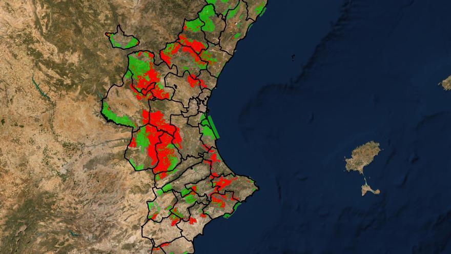 Mapa de los espacios protegidos en la Comunitat Valenciana en riesgo grave de incendio.
