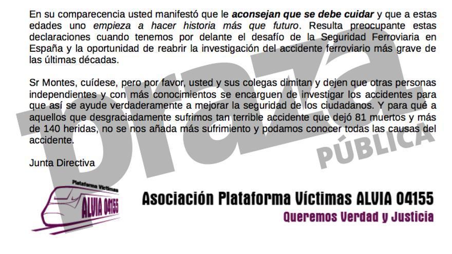 Final la carta de las víctimas del Alvia a la Comisión de Investigación de Accidentes Ferroviarios (CIAF) de Fomento