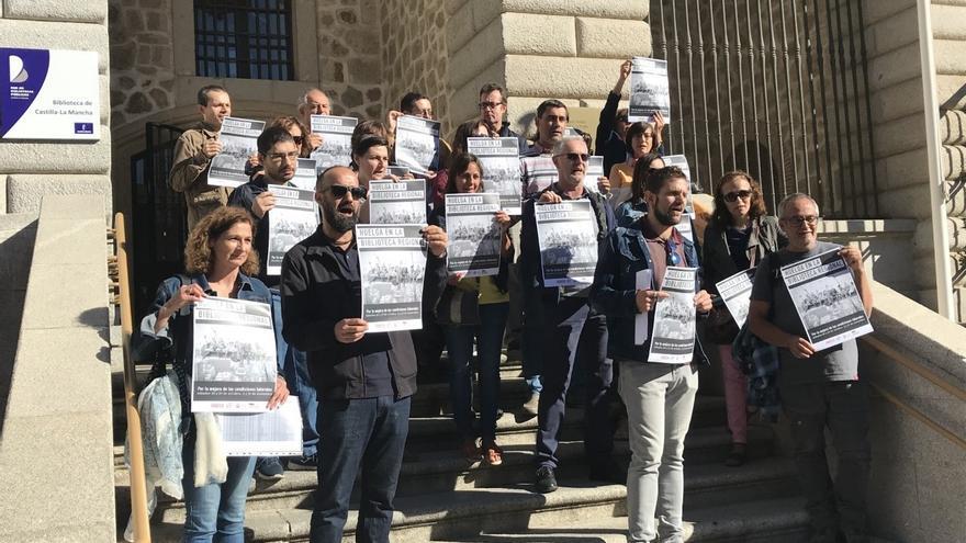 Manifestación en Toledo de trabajadores de la Biblioteca de Castilla-La Mancha