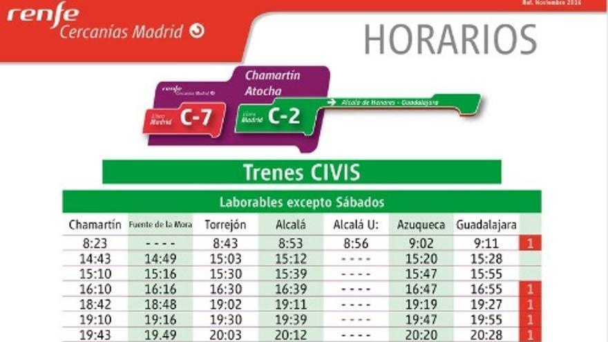 Horario Civis desde el 14 de noviembre de 2016