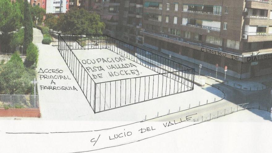 Recreación de la futura pista de hockey en la plaza de Pérez Pillado, facilitada por los vecinos contrarios a ella