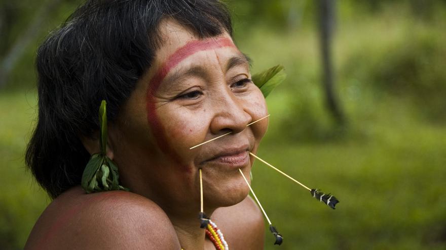 Mujer yanomami. El derecho internacional garantiza los derechos colectivos de los pueblos indígenas a conservar la propiedad de sus tierras. Si este derecho se cumpliera, y los límites de sus territorios fueran protegidos ante la invasión de foráneos, incluidos misioneros, madereros ilegales, buscadores de oro, furtivos e investigadores, los pueblos indígenas aislados podrían seguir prosperando. COPYRIGHT © Survival