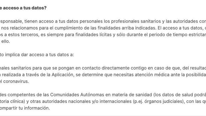 Política de privacidad de AsistenciaCOVID-19, la app del Gobierno para gestionar la pandemia de coronavirus