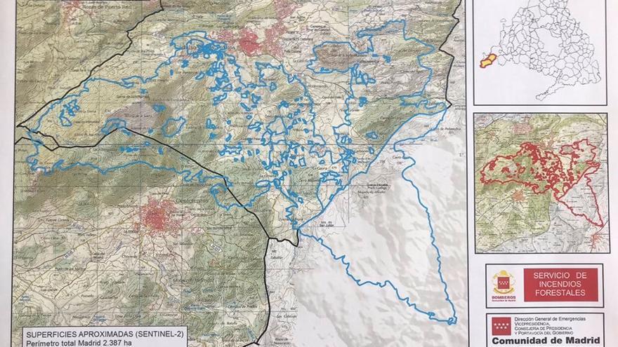 Mapa de las zonas afectadas por el incendio / 112 Emergencias Madrid