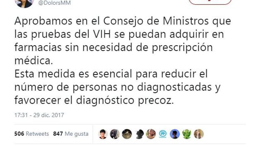 Tuit ministra VIH