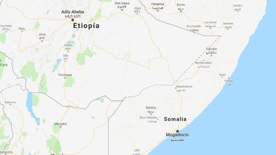 Captura mapa de Somalia, Google Maps.