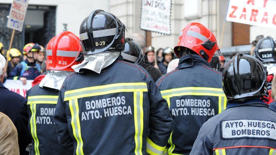 Protesta de los bomberos en Zaragoza el pasado mes de diciembre.